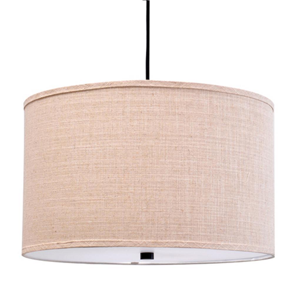 3-Light Bronze Finish Fabric Shade Pendant