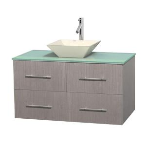 Wyndham Collection Centra 42 inch Vanity in Gray Oak with Glass Vanity Top in Green and Bone Porcelain Sink by Wyndham Collection
