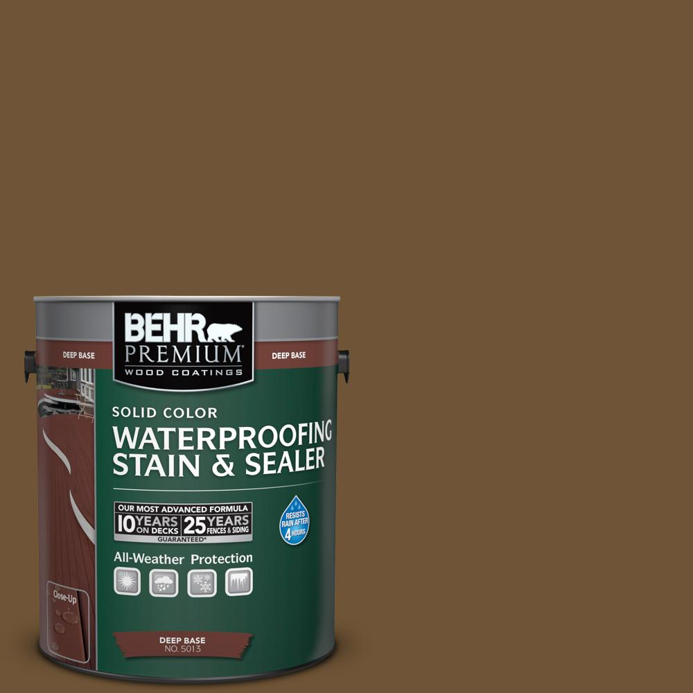 1 gal. #SC-109 Wrangler Brown Solid Color Waterproofing Stain and Sealer