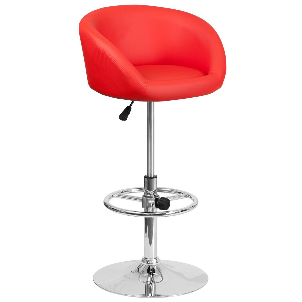 Flash Furniture 32 In Adjustable Height Red Cushioned Bar Stool