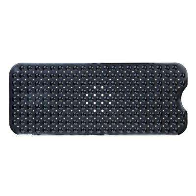 16 in. x 39 in. Extra Long Bath Mat in Solid Black