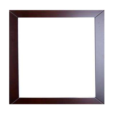 New York 30 in. W x 31 in. H Full Frame Wall Mounted Vanity Bathroom Mirror in Teak