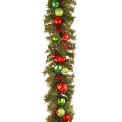 Decorative Collection 6 ft. Red and Green Garland
