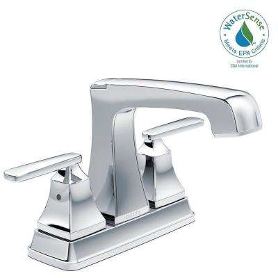 Ashlyn 4 in. Centerset 2-Handle Bathroom Faucet with Metal Drain Assembly in Chrome