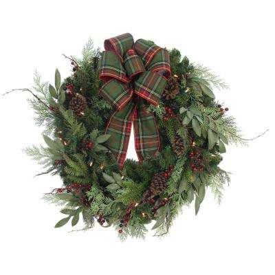 32 in. Pre-Lit Woodmoore Tales Artificial Christmas Wreath with Plaid Ribbon, 50 Battery-Operated Warm White LED