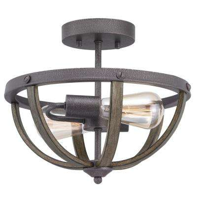 Keowee 13 in. 2-Light Artisan Iron Semi-Flush Mount with Distressed Elm Wood Accents