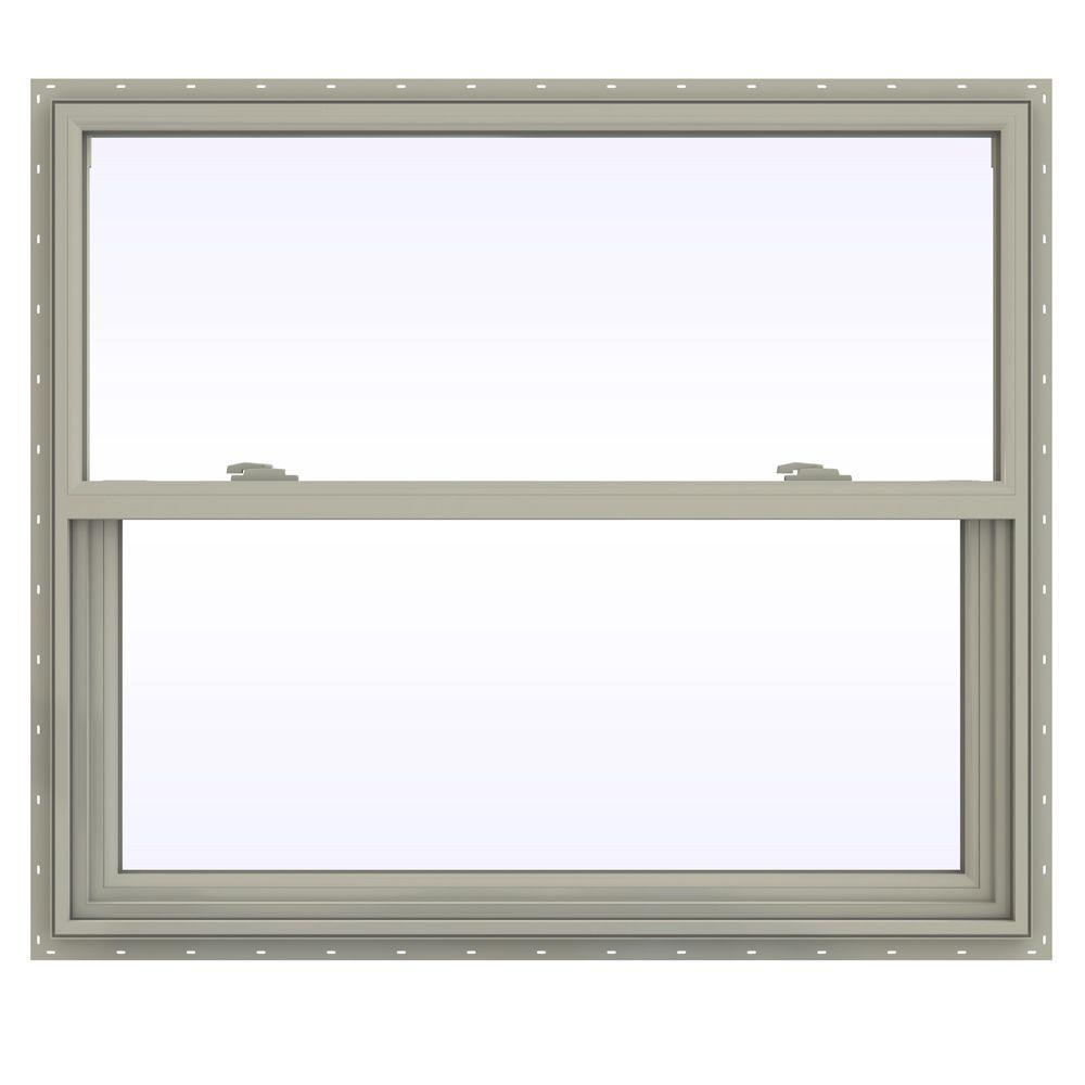 JELD-WEN 41.5 in. x 35.5 in. V-2500 Series Single Hung Vinyl Window - Tan