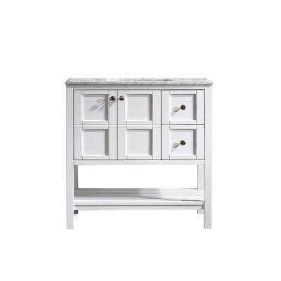 Florence 36 in. W x 22 in. D x 35 in. H Vanity in White with Marble Vanity Top in White with Basin