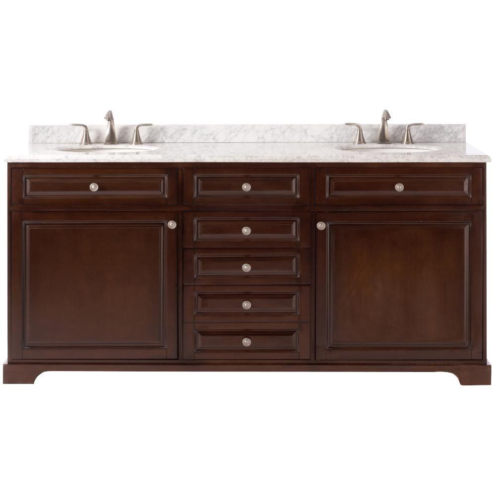 Home Decorators Collection Highclere 72 in. W x 22 in. D Double Bath Vanity in Cocoa with Natural Carrara Marble Vanity Top in White