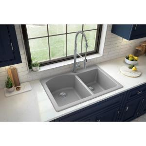 Drop-In Quartz Composite 33 in. 1-Hole 60/40 Double Bowl Kitchen Sink in Grey