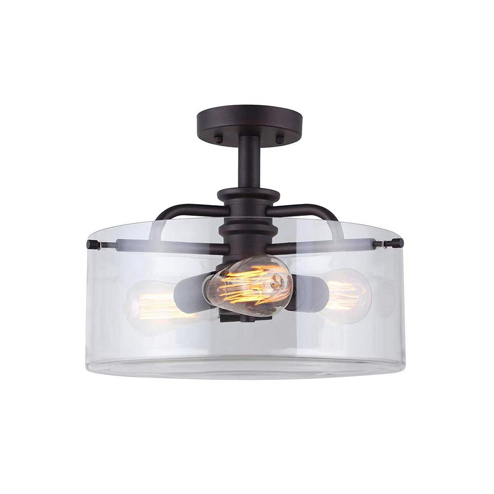 CANARM Angelo 3-Light Oil Rubbed Bronze Semi-Flush Mount Light
