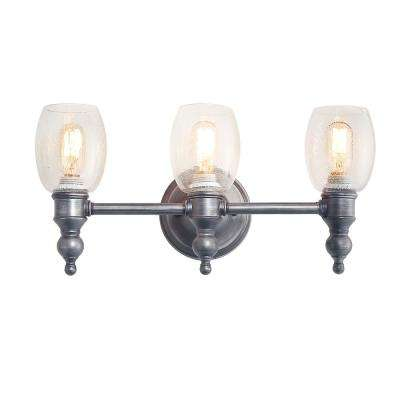 3-Light Aged Silver Vanity Light with Seeded Glass Shade
