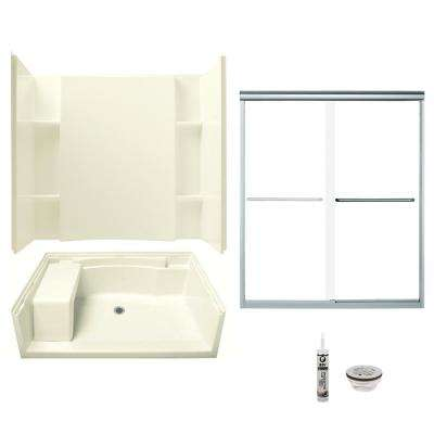 Accord 36 in. x 60 in. x 74.75 in. Center Drain Alcove Shower Kit in Biscuit and Chrome