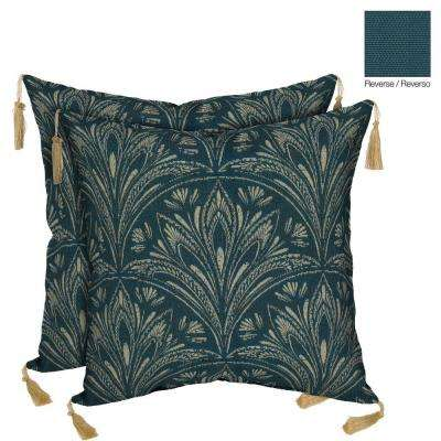 Royal Zanzibar Reversible Square Toss Outdoor Cushion Pillow with Tassels (2-Pack)
