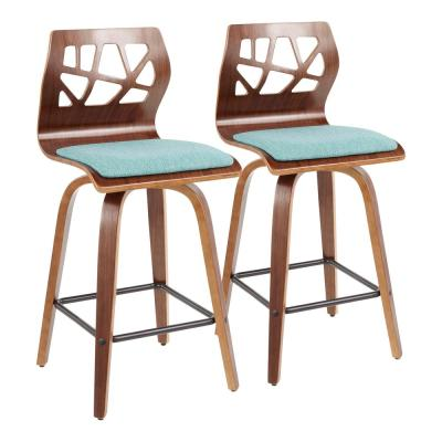 Folia 26 in. Counter Stool in Walnut Wood and Teal Fabric (Set of 2)
