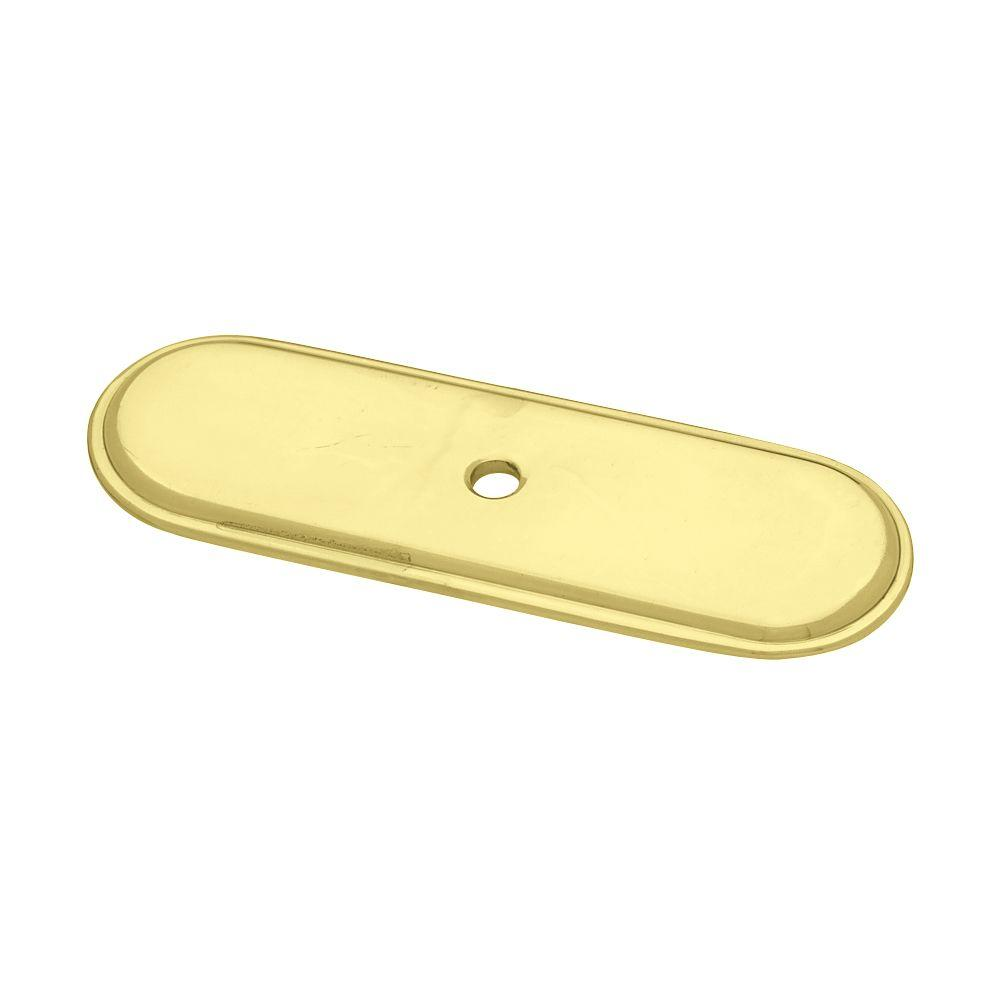 Liberty 3-3/4 in. Polished Brass Raised Oval Cabinet Knob Backplate