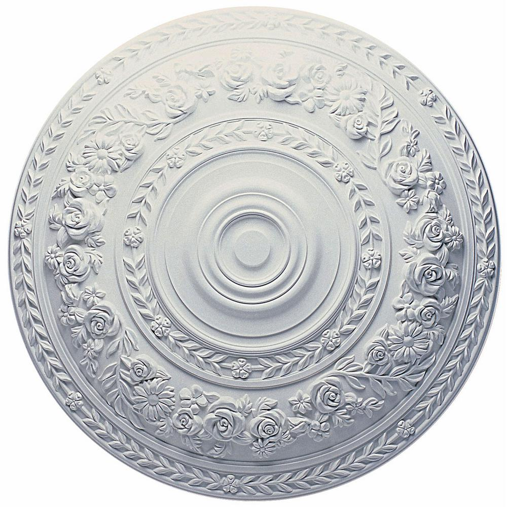 Ekena Millwork 33-7/8 in. x 2-3/8 in. Rose Urethane Ceiling Medallion (Fits Canopies up to 13-1/2 in.), Hand-Painted Platinum