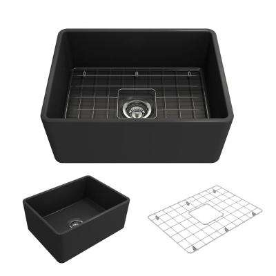 Classico Farmhouse Apron Front Fireclay 24 in. Single Bowl Kitchen Sink with Bottom Grid and Strainer in Matte Dark Gray
