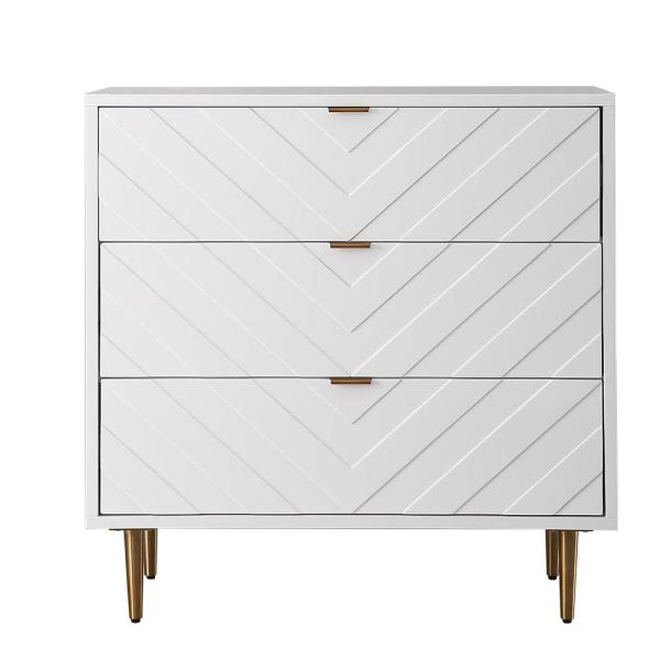 3-Drawers White High Gloss Stainless Steel Brushed Golden Legs Table Accent Storage Cabinet