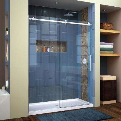 Enigma Air 56 in. to 60 in. x 76 in. Frameless Sliding Shower Door in Polished Stainless Steel