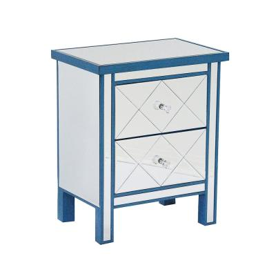 Shelly Assembled 20 in. x 20 in. x 13 in. Blue Wood Tall Chest Accent Storage Cabinet with 2 Glass Drawers