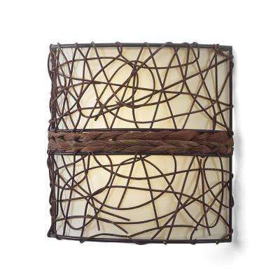 Catalina Barrel Indoor Battery Operated Integrated LED Wall Sconce with Candle Flicker Mode and Brown/Beige Shade
