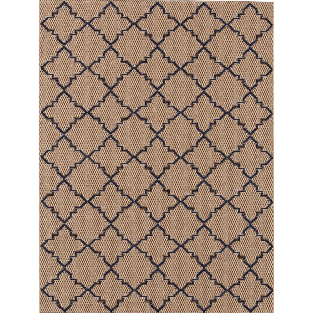Hampton Bay Moroccan Tile Beige/Navy 7 ft. 10 in. x 10 ft. Indoor ...