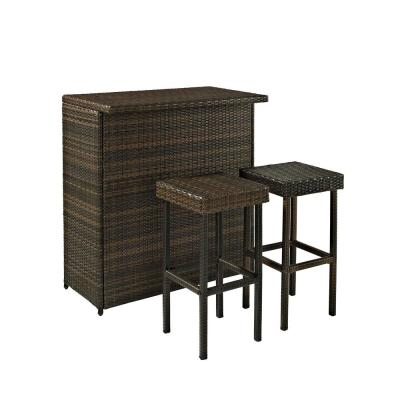 Palm Harbor 3-Piece Wicker Outdoor Serving Bar Set
