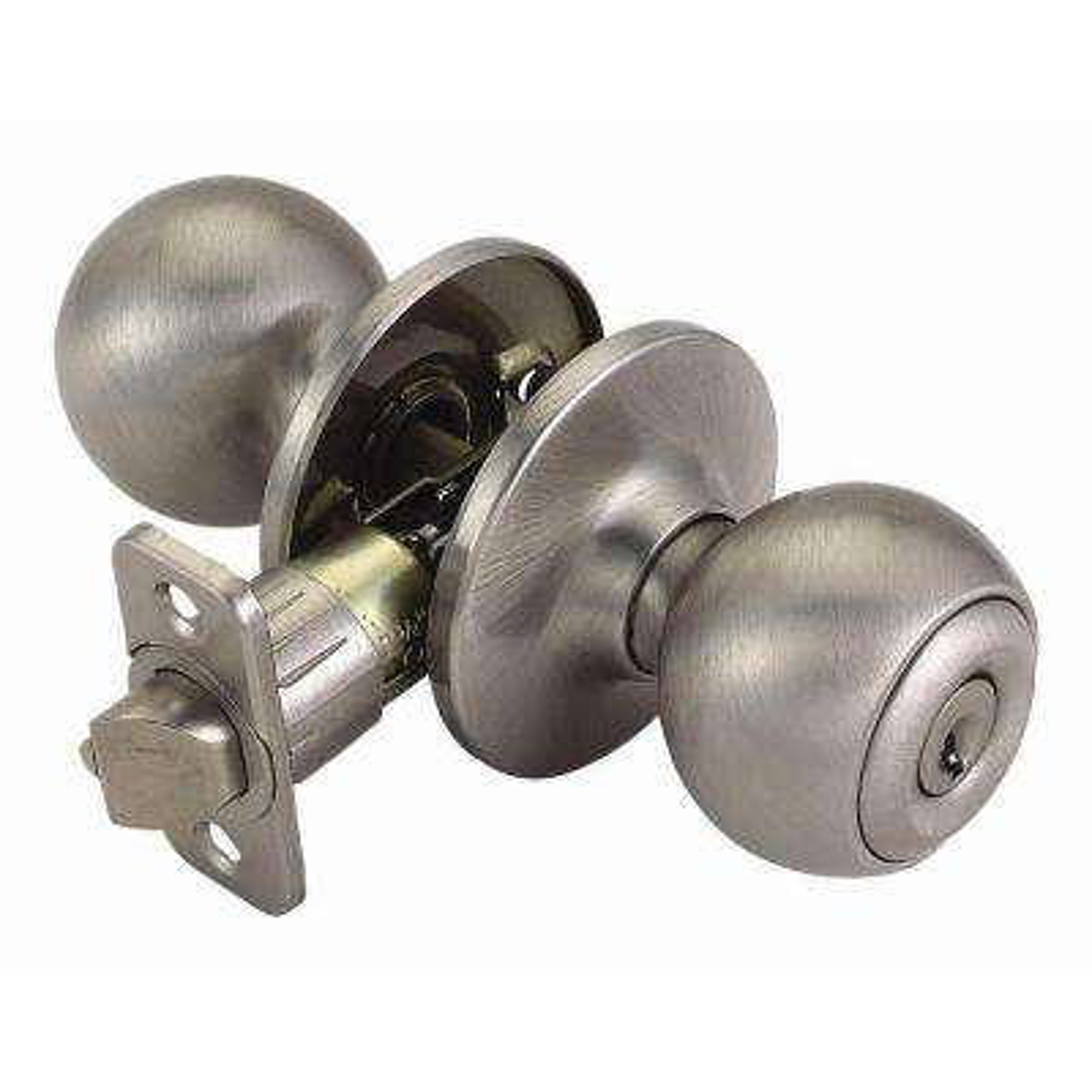 Ball Satin Nickel Keyed Entry Door Knob with Universal 6-Way Latch