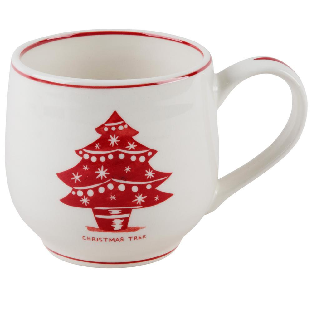 Molly Hatch Molly Hatch 14 oz. Christmas Tree Mug, White and Red