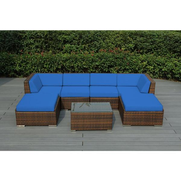 Mixed Brown 7-Piece Wicker Patio Seating Set with Supercrylic Blue Cushions