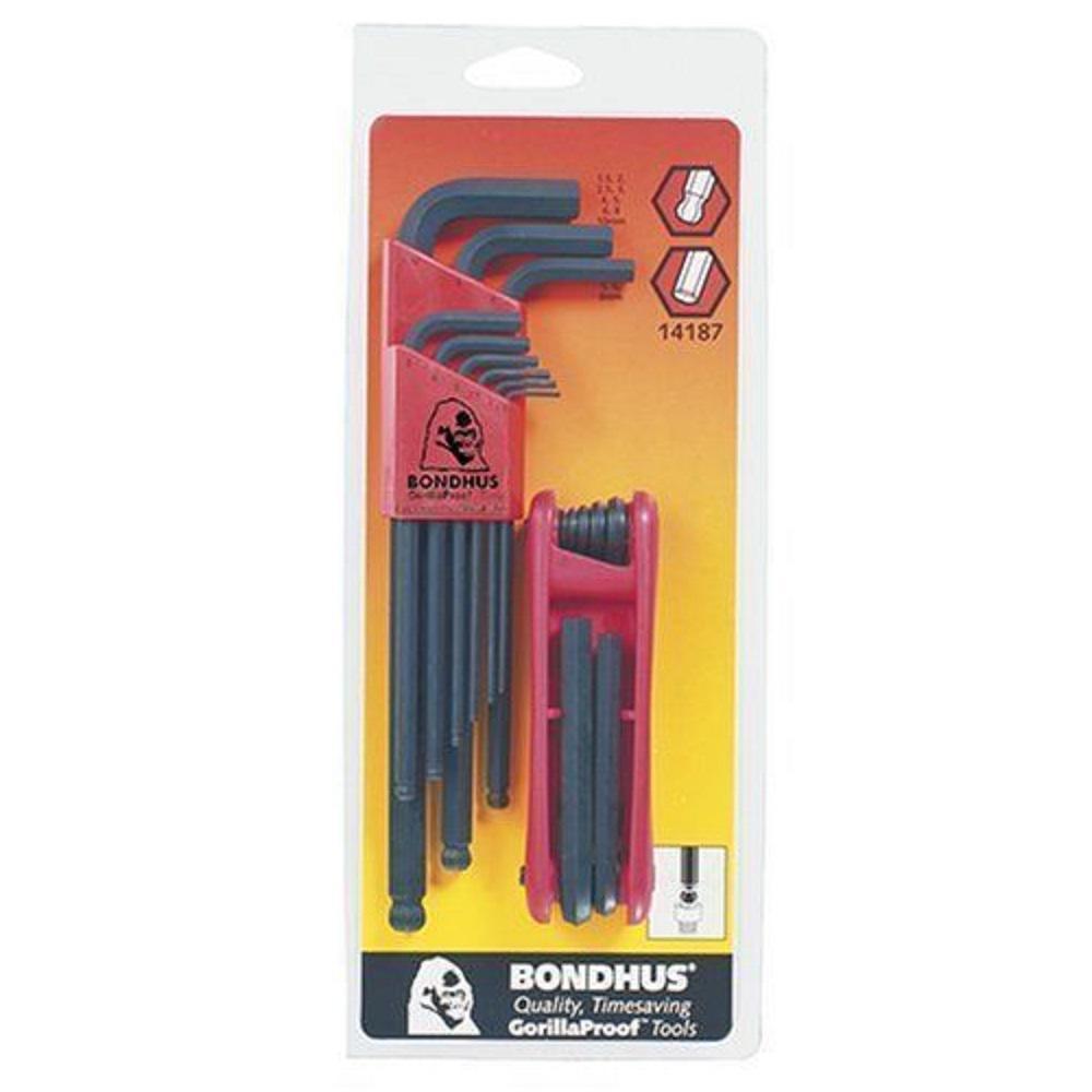 Bondhus 12587 GorillaGrip Hex Tip Fold Up Tool with ProGuard Finish 2mm-8mm 7 Piece
