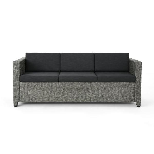 Puerta Mixed Black Wicker Outdoor Sofa