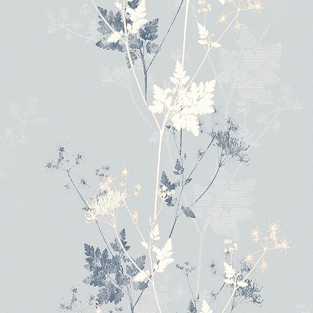 57.8 sq. ft. Tara Silver Sprig Wallpaper