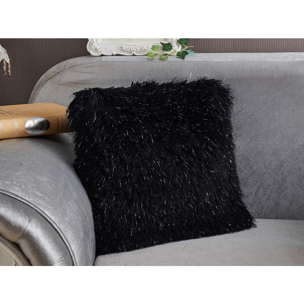 Black Shaggy Lurex Standard Decorative Pillow