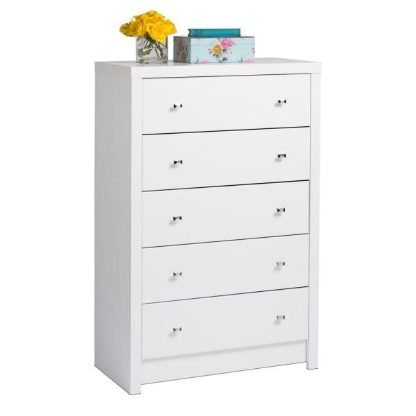 Prepac Calla 5 Drawer White Chest Of