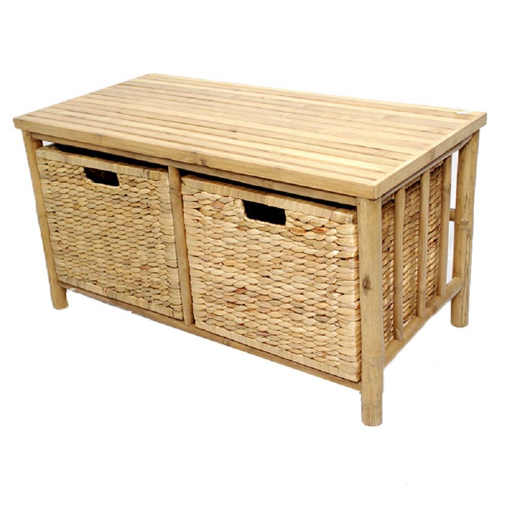 Shelly Natural Bamboo Storage Bench