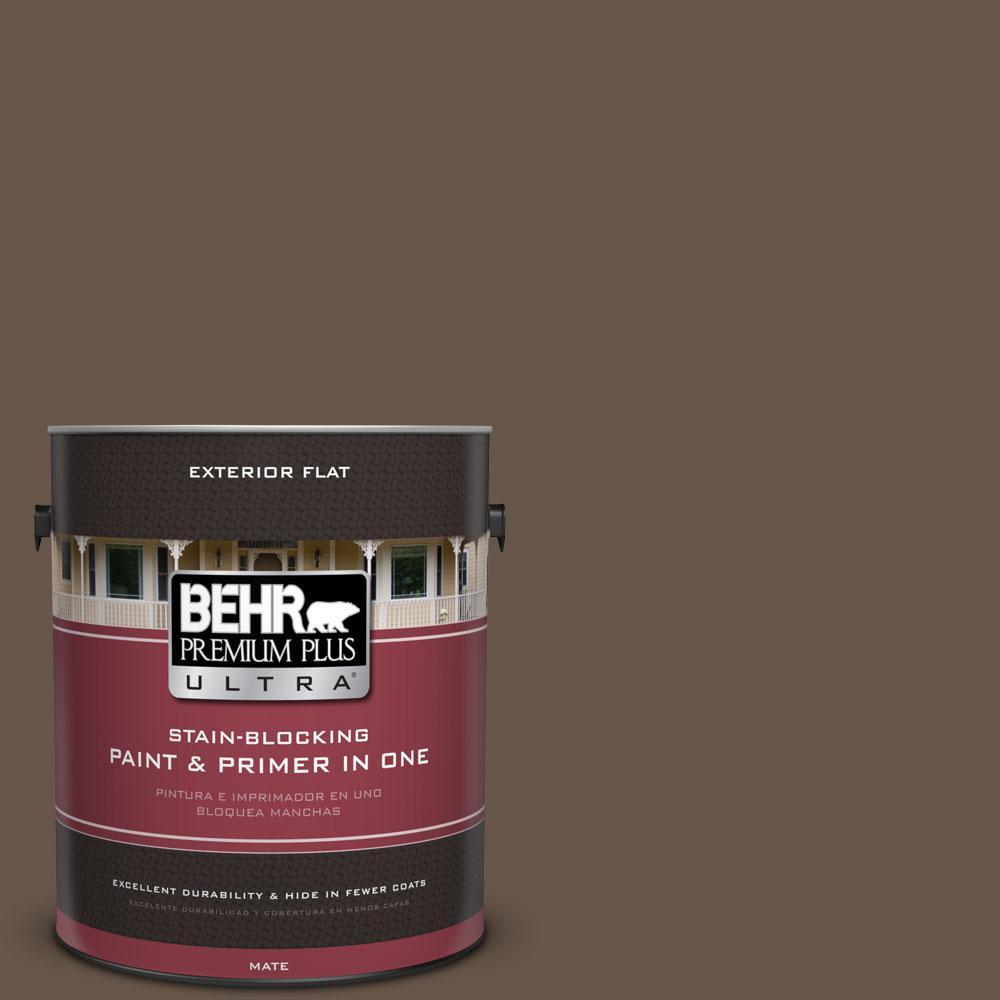 BEHR Premium Plus Ultra 1-gal. #N220-7 Cavalry Brown Flat Exterior Paint