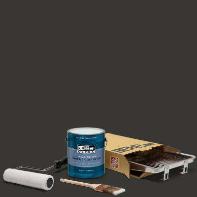 1 gal. Black Ultra Satin Enamel Interior Paint and 5-Piece Wooster Set All-in-One Project Kit