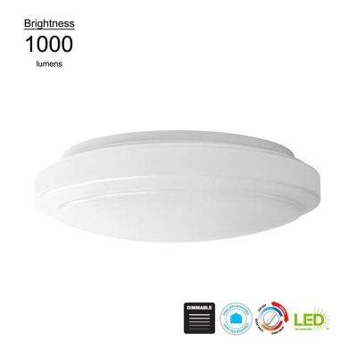12 in. Round White 14 Watt Equivalent Integrated LED Flush Mount with Color Temperature Tunable Feature (2700K to 5000K)