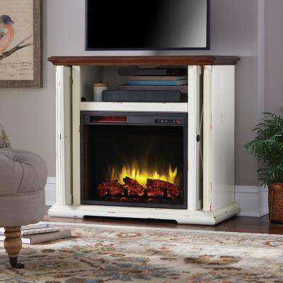 Briar 38 in. Infrared Freestanding Electric Fireplace TV Stand in Aged White