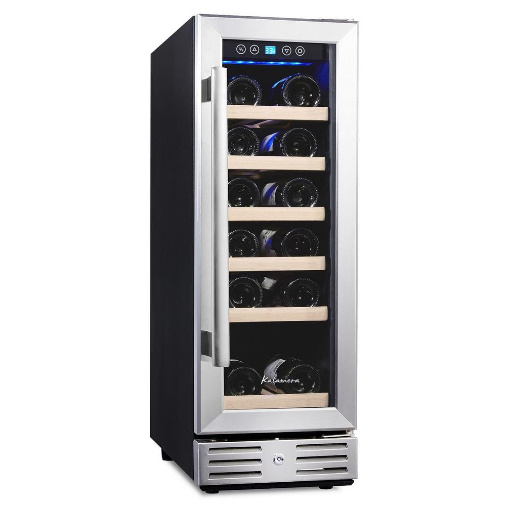KALAMERA Kalamera 12 in. Built-in 18 Bottle Wine Cooler with Touch Control, Black