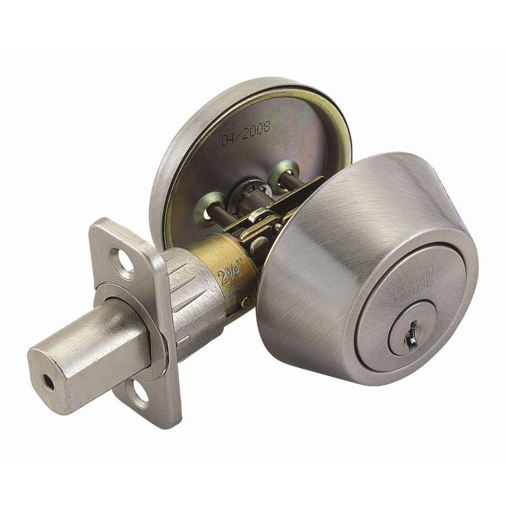 Design House Single Cylinder Satin Nickel Deadbolt with Universal 6-Way Latch