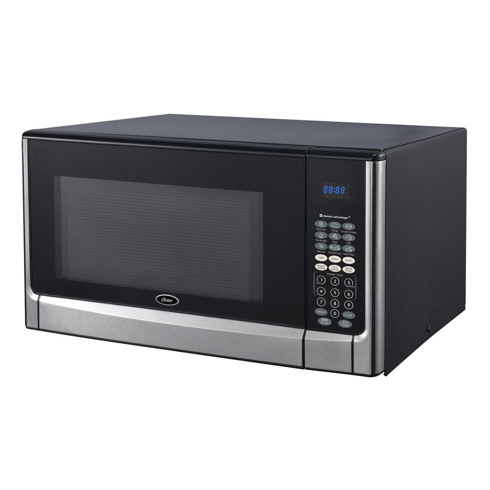 Oster 1 6 Cu Ft Stainless Steel Countertop Microwave Oven