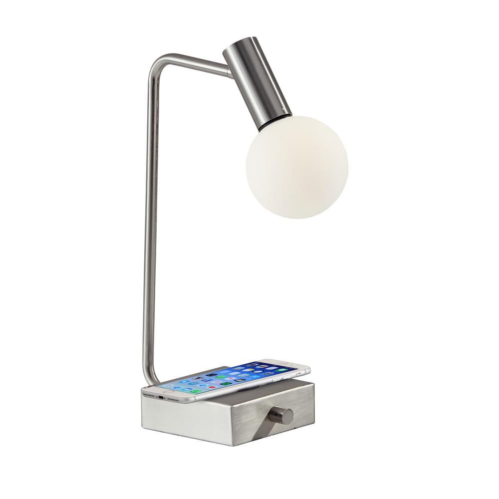 Adesso Windsor 17.5 in. Brushed Steel Table Lamp with Qi Wireless Charging