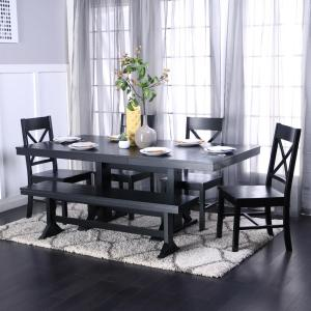 +4. Walker Edison Furniture Company Millwright 6 Piece Black Dining Set