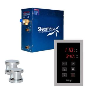 SteamSpa Oasis 12kW Touch Pad Steam Bath Generator Package in Chrome by SteamSpa