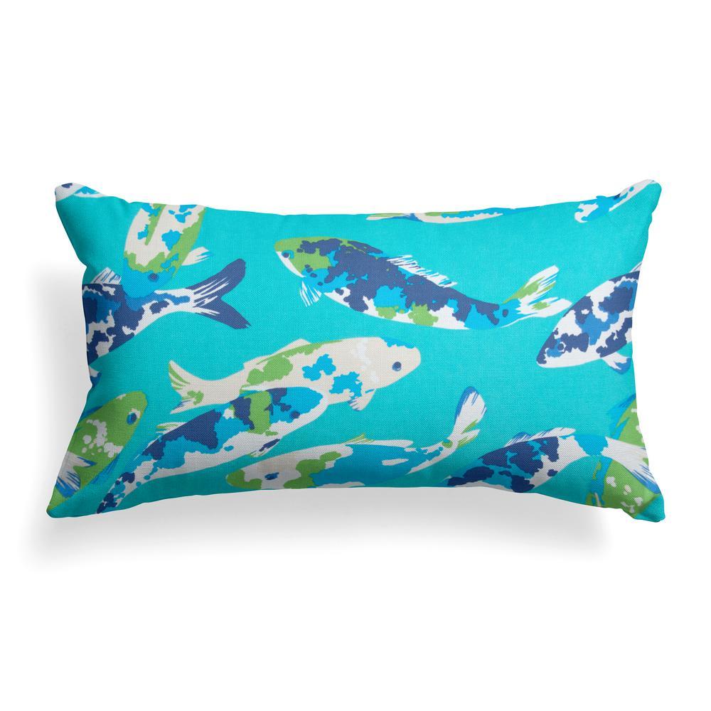 Grouchy Goose Koi Lagoon Rectangular Lumbar Outdoor Throw Pillow