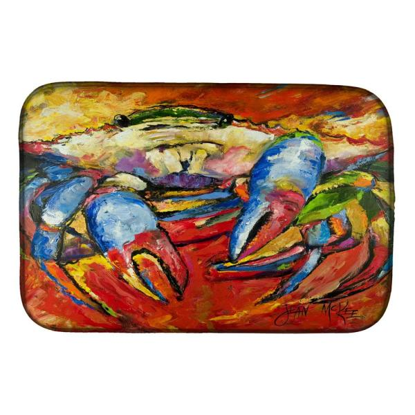 Caroline S Treasures 14 In X 21 In Multicolor Blue Crab Red Dish Drying Mat Jmk1107ddm The Home Depot