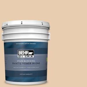 Behr Ultra 5 Gal Bxc 64 Shortbread Cookie Satin Enamel Interior Paint And Primer In One 775005 The Home Depot